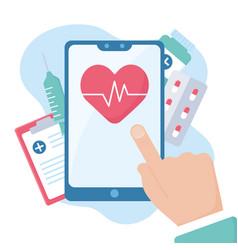 doctor online hand touching screen smartphone app vector image