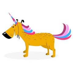Dog dressed as a unicorn cute dog in uniform as vector