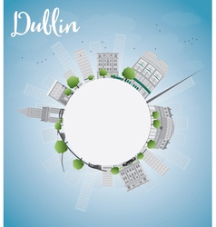 Dublin Skyline with Grey Buildings Blue Sky vector