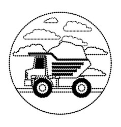 dump truck in circular frame with cloud landscape vector image
