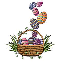 easter egg in wicker basket vector image