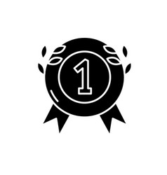 first place medal black icon sign on vector image