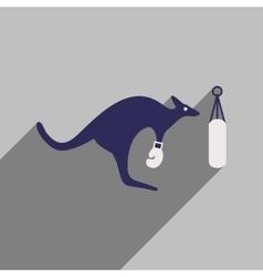 Flat icon with long shadow kangaroo boxer vector