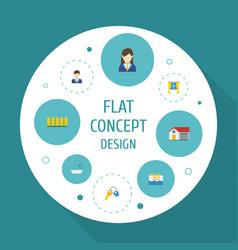 Flat icons casement bathroom woman realtor and vector