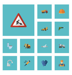 flat icons caution excavator worker and other vector image