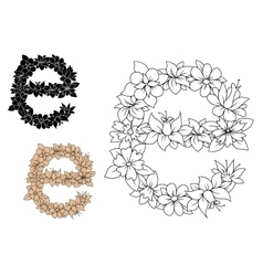 Floral letter E with flowers and leaves vector