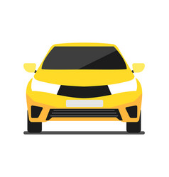 Front view yellow car icon in flat design vector
