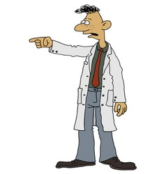 Funny man in a white coat vector image