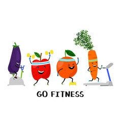 Go fitness concept happy sport fruit and vector