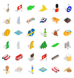 Great world icons set isometric style vector