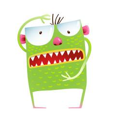 Green monster frog showing size kids cartoon vector