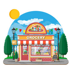 Grocery store front with window and door vector