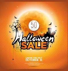 Halloween sale with moon cemetery and bats vector