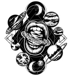 hand drawn of planets and mouth surreal artwork vector image