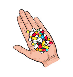hand holding pile of colorful pills tablets in vector image