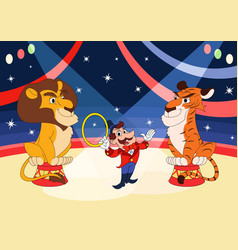handler with lion and tiger at circus vector image