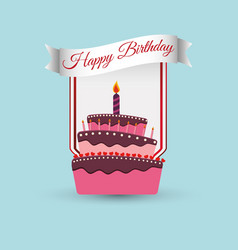 happy birthday cake decoration poster vector image