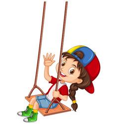 Happy girl palying on swing vector