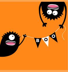 happy halloween two screaming monster head vector image