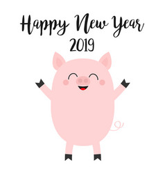 happy new year 2019 pink pig piggy piglet chinise vector image
