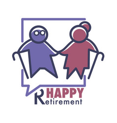 Happy retirement elderly or nursing home isolated vector