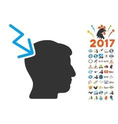 Head Electric Strike Icon With 2017 Year Bonus vector image