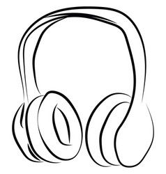 headphones sketch on white background vector image