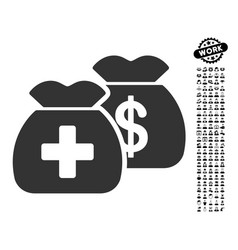 Health care funds icon with work bonus vector