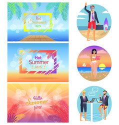 hot summer days freelance set vector image