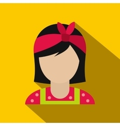 Housewife with a red bow on her head flat vector