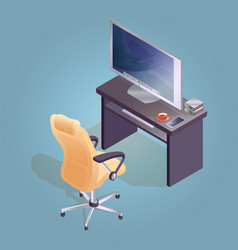 isometric cartoon armchair computer and table vector image