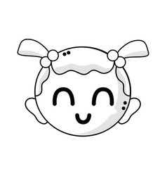 line cute baby girl head with hairstyle design vector image