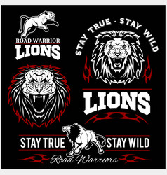 Lions custom motors club t-shirt logo on vector