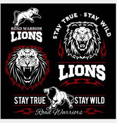 lions custom motors club t-shirt logo on vector image