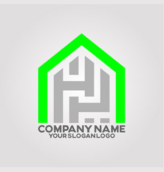 logo house letter h and p 01 vector image