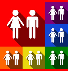 male and female sign set of icons with vector image