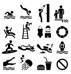 man swimming pool sea beach sign symbol pictogram vector image