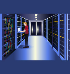 Man working in a data center vector