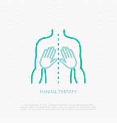 manual therapy thin line icon vector image
