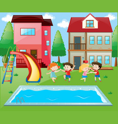 Many children playing by the poolside vector
