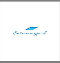 modern simple minimalist swimming pool logo design vector image