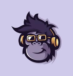 Monkey with glasses and headphones monkeys logo vector