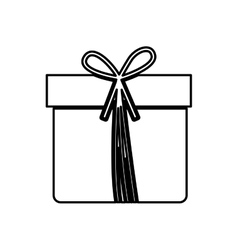 Monochrome contour with giftbox with ribbon vector