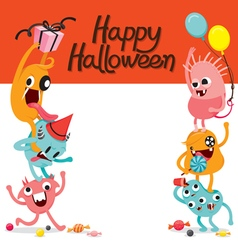 Monsters Funny On Frame Banner vector image