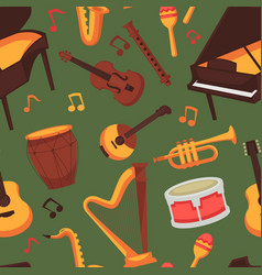 musical instruments seamless pattern music and art vector image