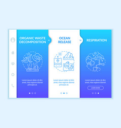 Natural carbon dioxide sources onboarding template vector