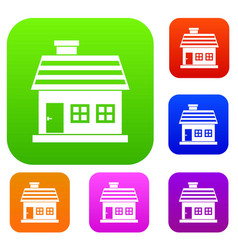 One-storey house set collection vector