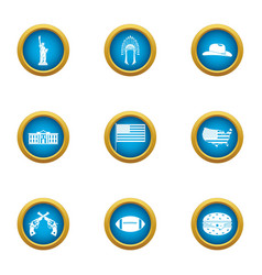 Parliament icons set flat style vector