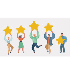 People holding in hands gold stars rating concept vector