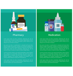 Pharmacy and medication set vector